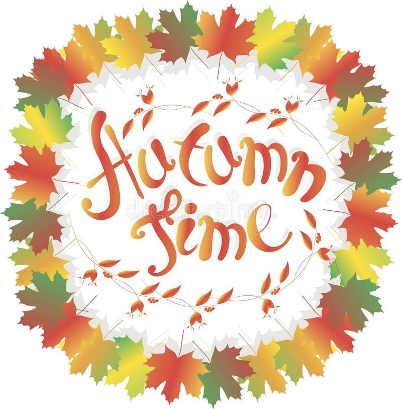 Temps d'automne de lettrage Cadre coloré de feuilles d'érable sur le blanc, les fruits roses, la branche avec des feuilles et les illustration de vecteur