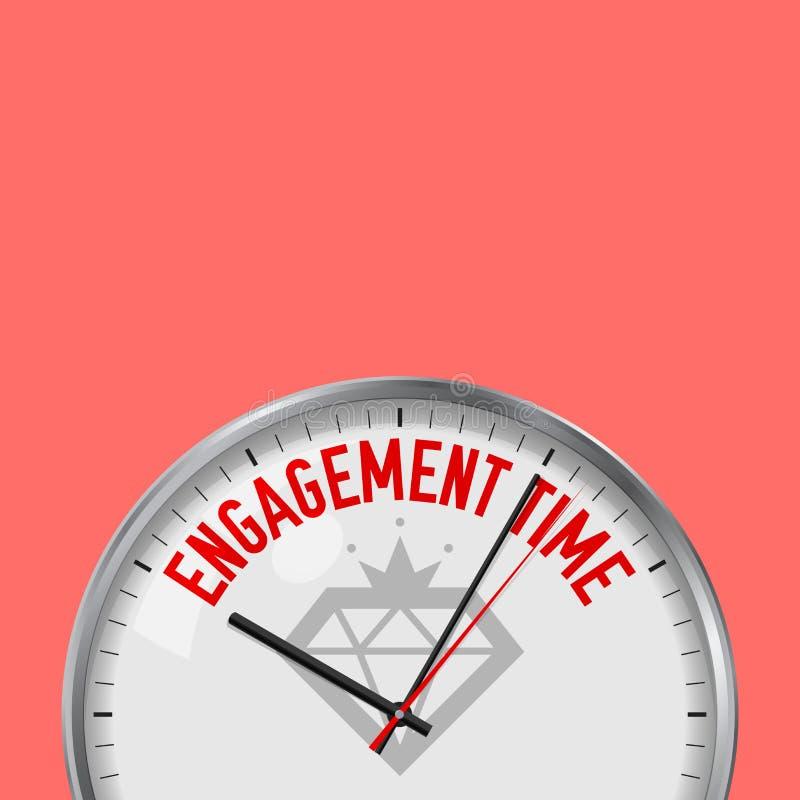 Temps d'engagement Horloge blanche de vecteur avec le slogan de motivation Montre analogue en métal avec le verre Icône de diaman illustration libre de droits