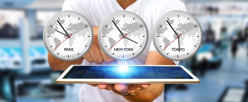 Temps d'entreposage d'homme d'affaires du monde au-dessus de son comprimé numérique illustration stock