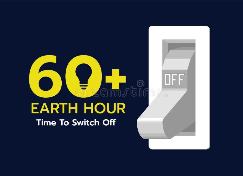 Temps d'heure de la terre de couper - l'interrupteur de lampe dans la conception de vecteur de position de repos illustration libre de droits