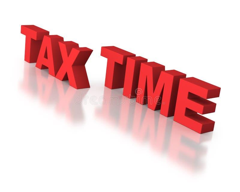 Temps d'impôts dans des lettres de rouge de bloc illustration libre de droits