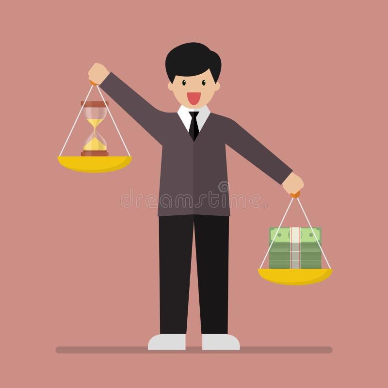 Temps de équilibrage et argent d'homme d'affaires sur deux plateaux de pesage sur la BO illustration stock