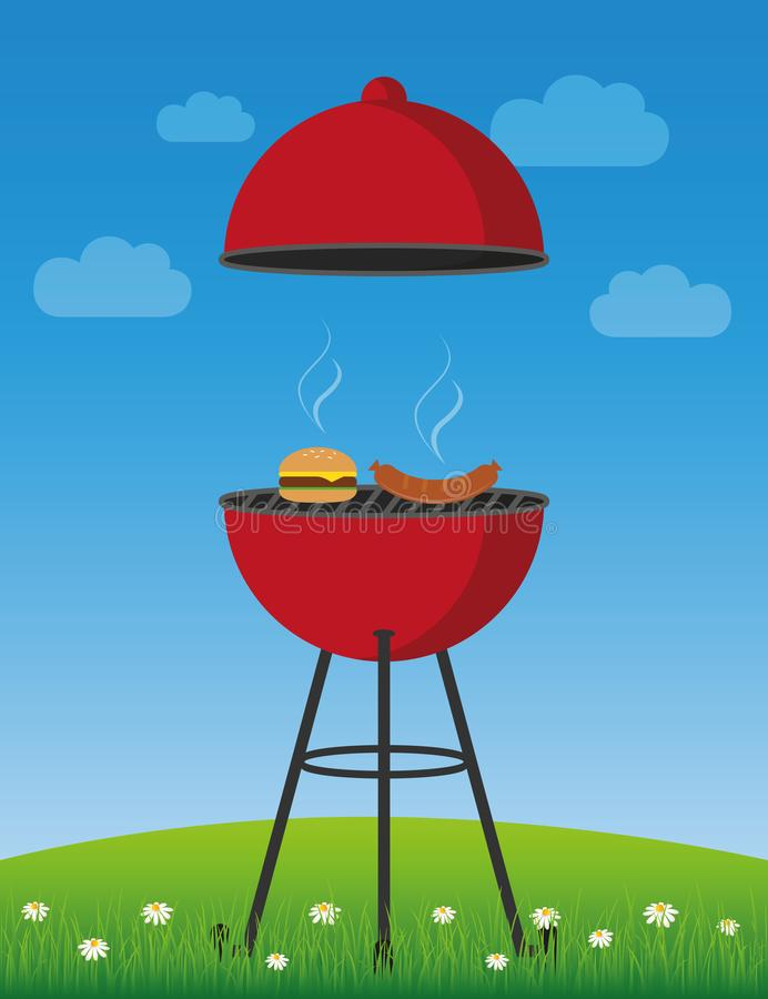 Temps de BBQ dans le barbecue rouge de bouilloire d'?t? avec la saucisse et l'hamburger illustration de vecteur