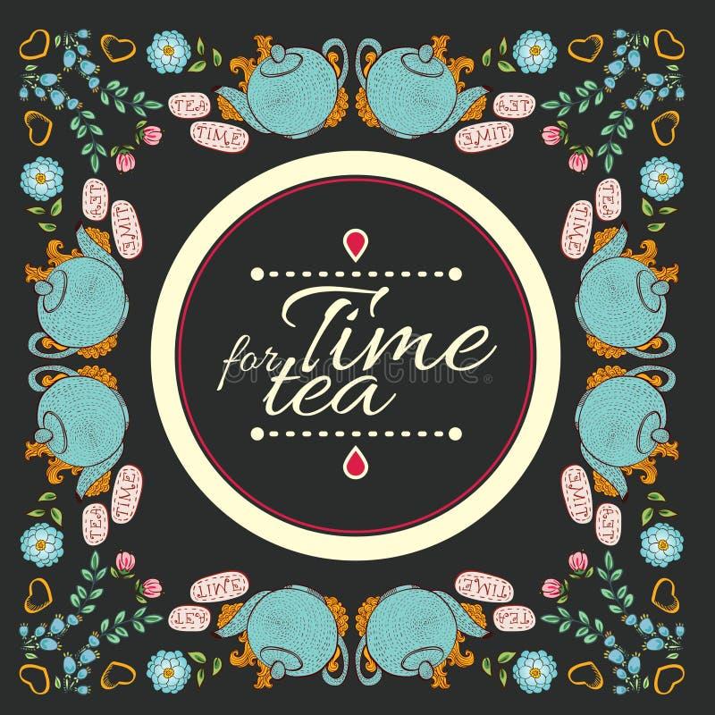 Temps de cadre de guirlande de fleur de thé pour le thé illustration libre de droits