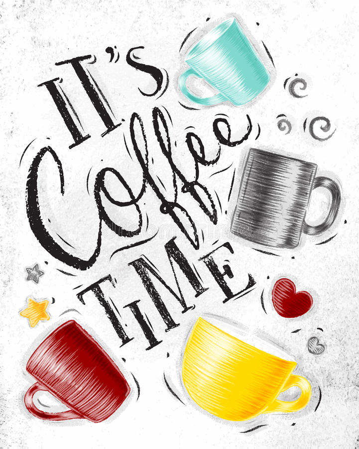 Temps de café d'affiche illustration stock