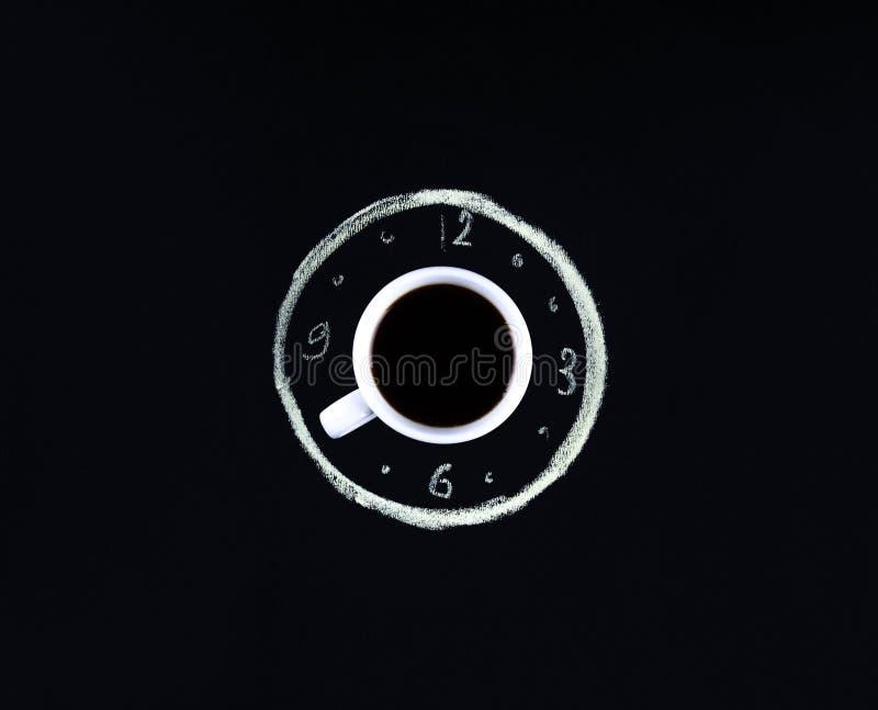 Temps de café fond de conception de l'avant-projet d'horloge de tasse photos libres de droits