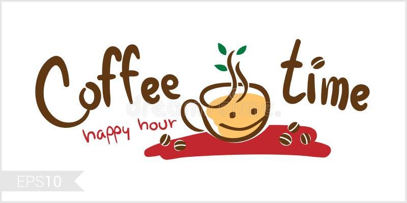 Temps de café, illustration d'heure heureuse pour l'insigne, label, identité illustration de vecteur
