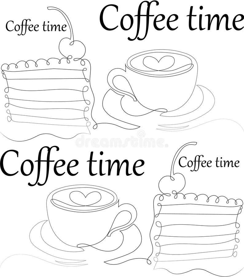 Temps de caf? Une ligne modèle sans couture Illustration de vecteur illustration libre de droits