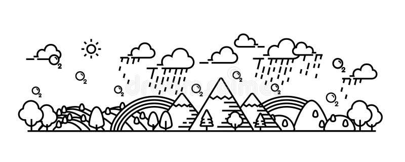 Temps de chute de pluie de vue de paysage illustration stock