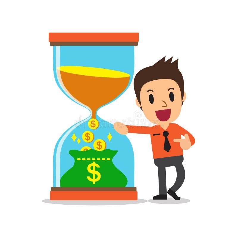 Temps de converti de concept d'affaires à l'argent avec l'homme d'affaires illustration libre de droits