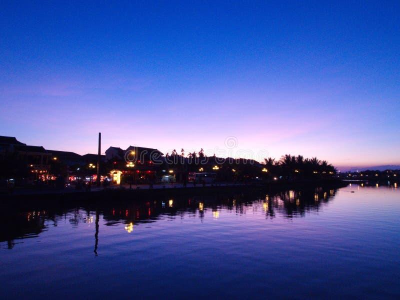 Temps de coucher du soleil en Hoi An Ancient Town, une ville sur des centrums de Vietnam's photographie stock libre de droits