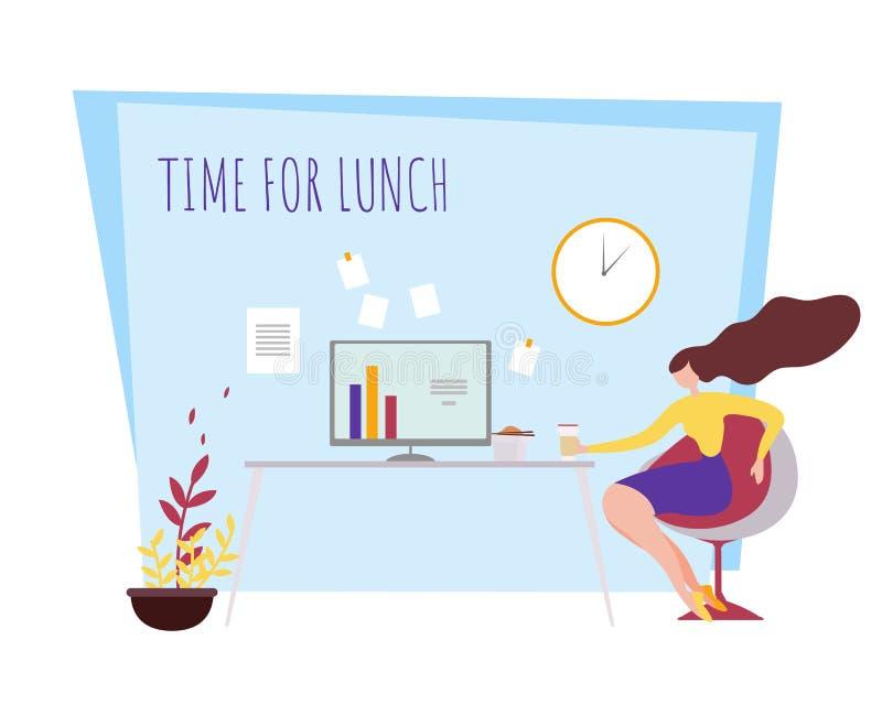 Temps de coupure d'employé de bureau de femme de bande dessinée pour le déjeuner illustration de vecteur