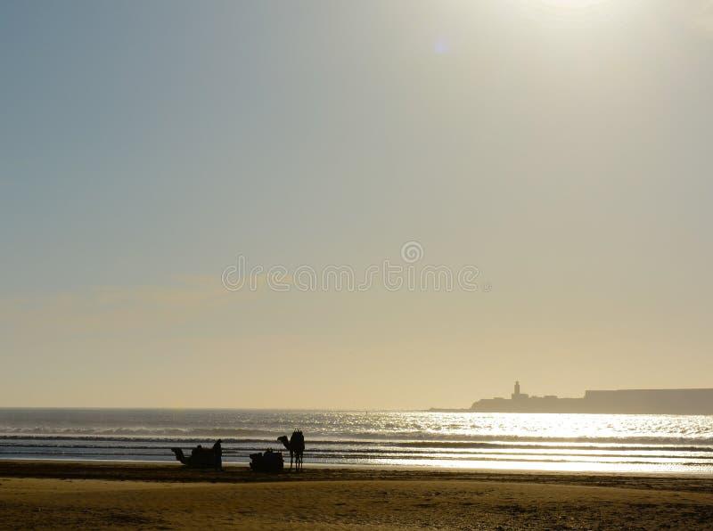 Temps de détente par la mer sur le coucher du soleil photographie stock libre de droits