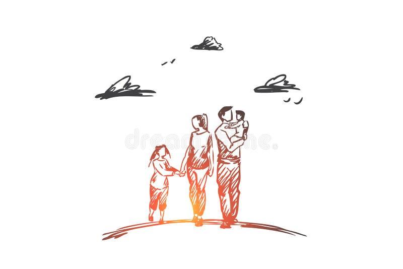Temps de famille, parents, enfants, concept de loisirs Vecteur d'isolement tiré par la main illustration stock