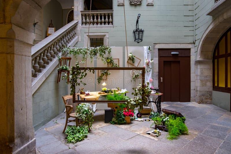 Temps de flors, festival del fiore di evento a Girona Catalogna immagini stock