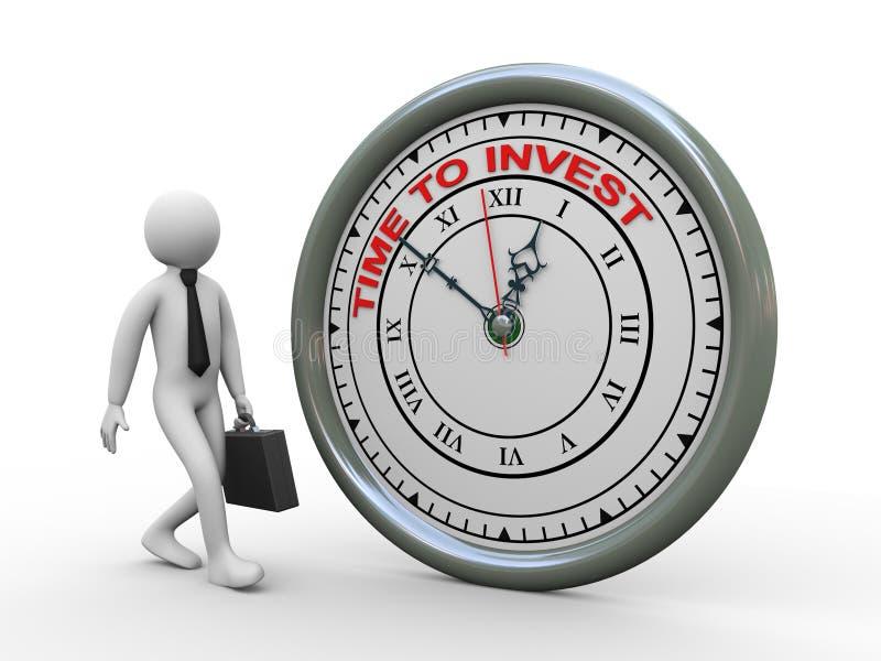 temps de l'homme d'affaires 3d d'investir l'horloge illustration libre de droits