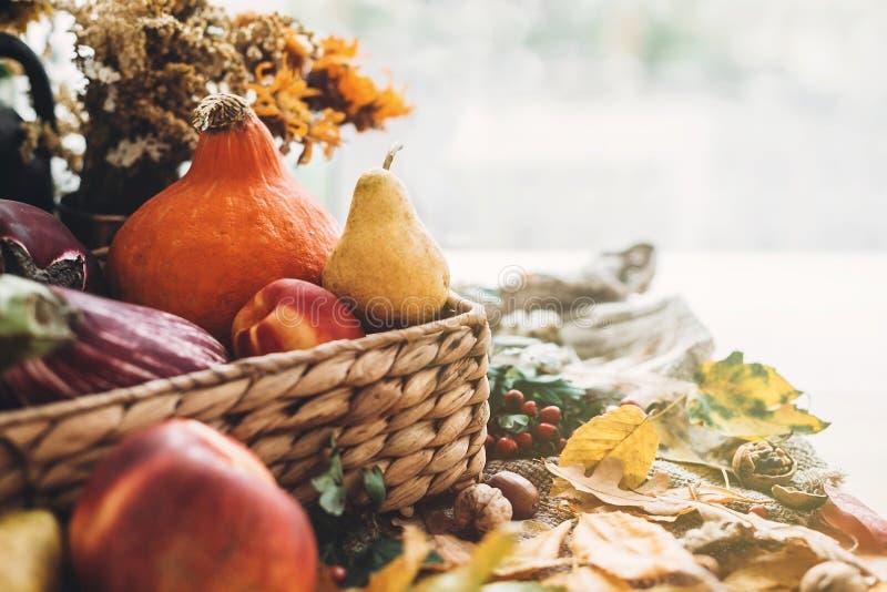 Temps de moisson Action de grâces heureuse Le potiron et les légumes se dorent dedans photographie stock