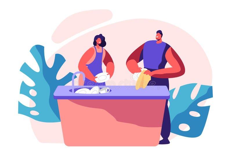 Temps de nettoyage de cuisine de famille Les travaux domestiques, plats fonctionnants domestiques de corvées, propreté et routine illustration libre de droits