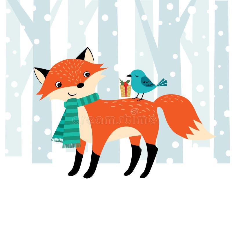 Temps de Noël de région boisée illustration stock