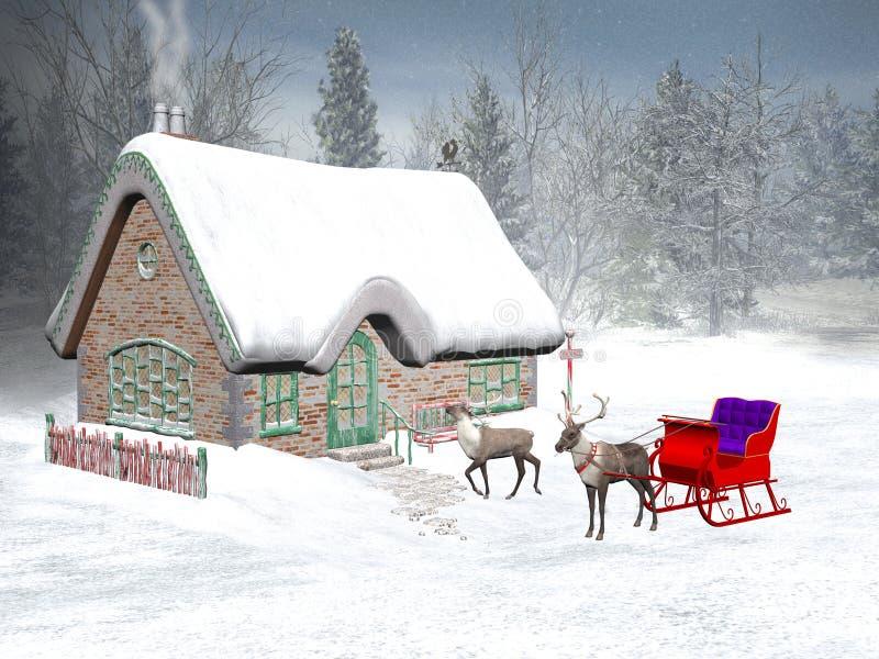 Temps de Noël, la maison de Santa illustration de vecteur