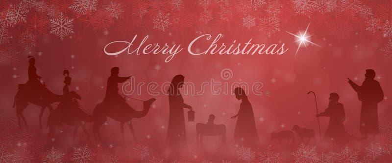 Temps de Noël - scène de nativité illustration stock