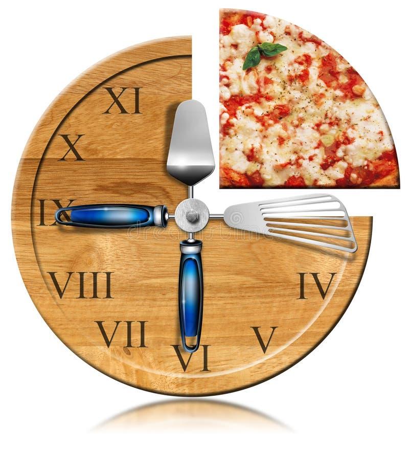 Temps de pizza - horloge illustration libre de droits