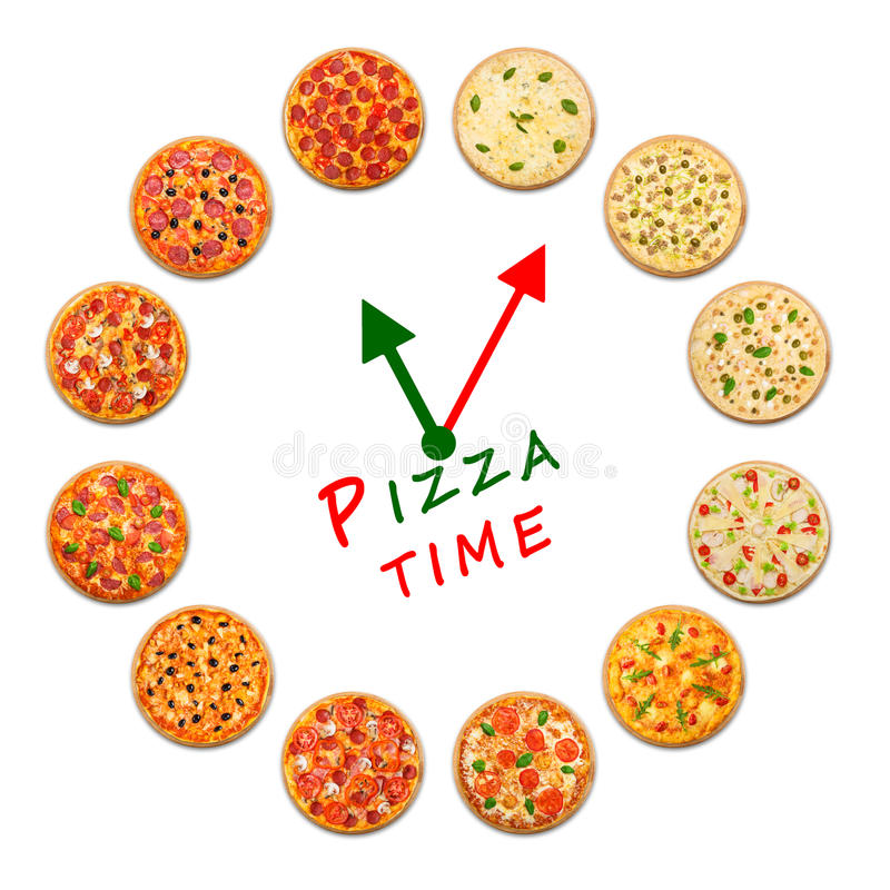 Temps de pizza Horloge de nourriture italienne photographie stock libre de droits