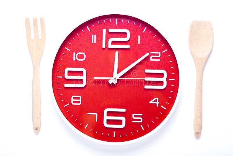 Temps de repas avec l'horloge image libre de droits