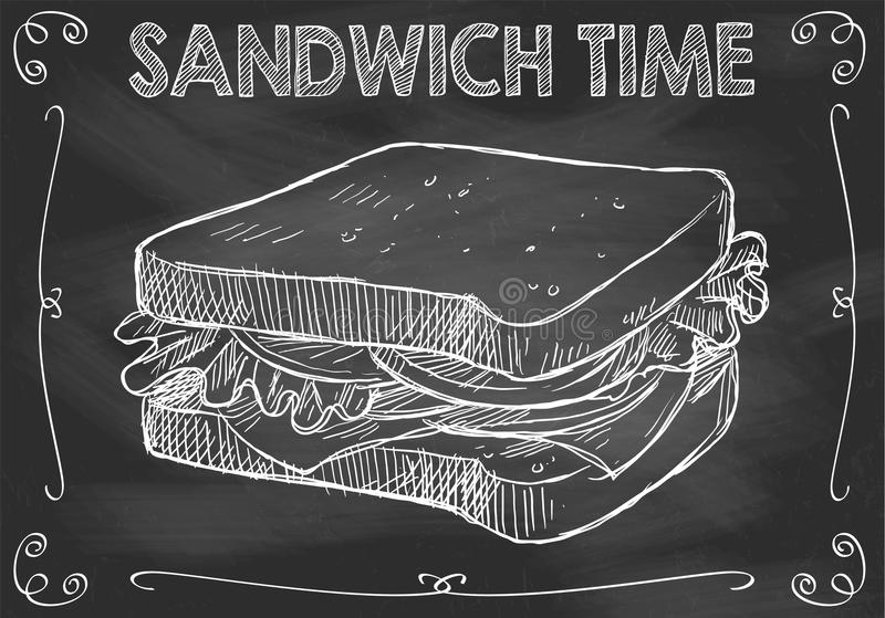 Temps de sandwich à tableau avec le sandwich tiré par la main illustration stock