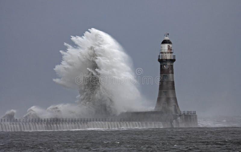 Temps de Stomy au phare de Roker photographie stock libre de droits