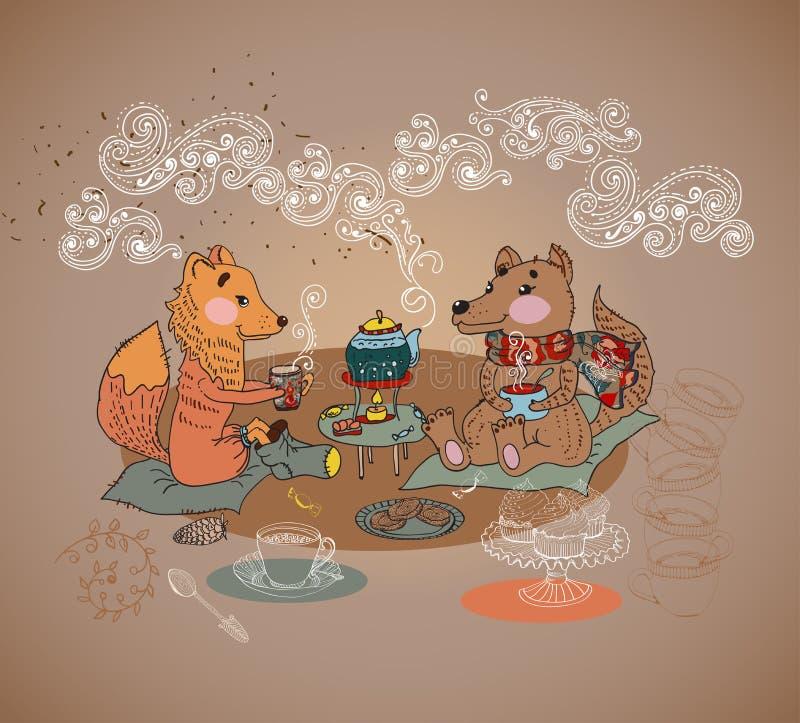 Temps de thé de renard et de loup de bande dessinée illustration libre de droits
