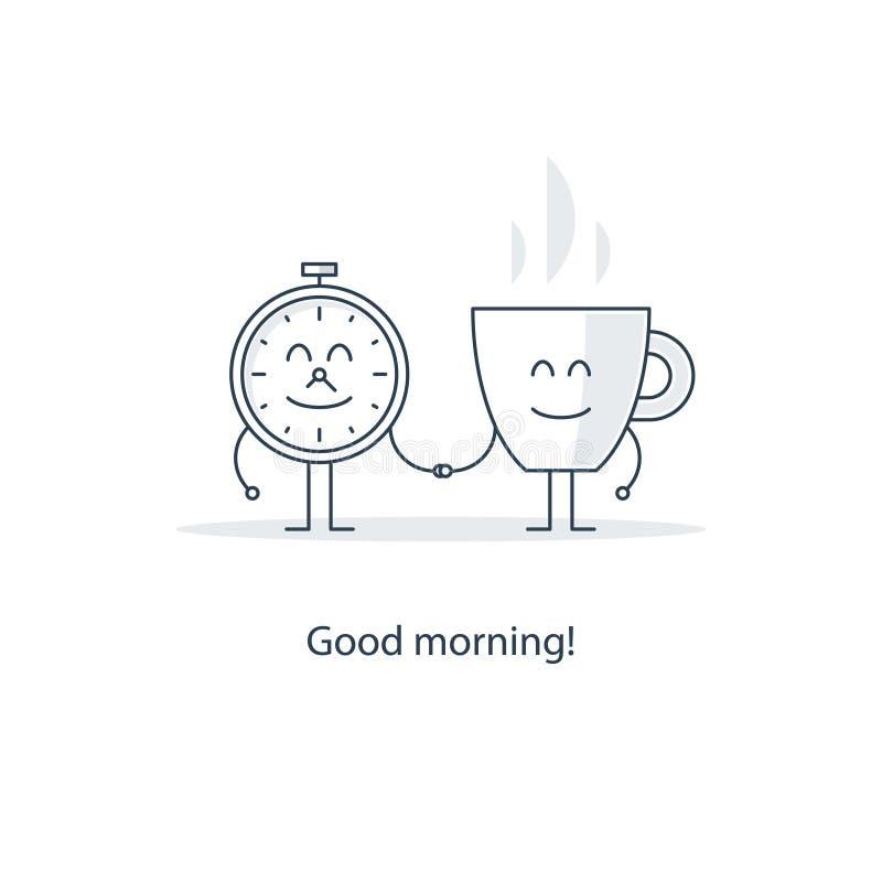 Temps de thé, tasse de matin de café illustration libre de droits