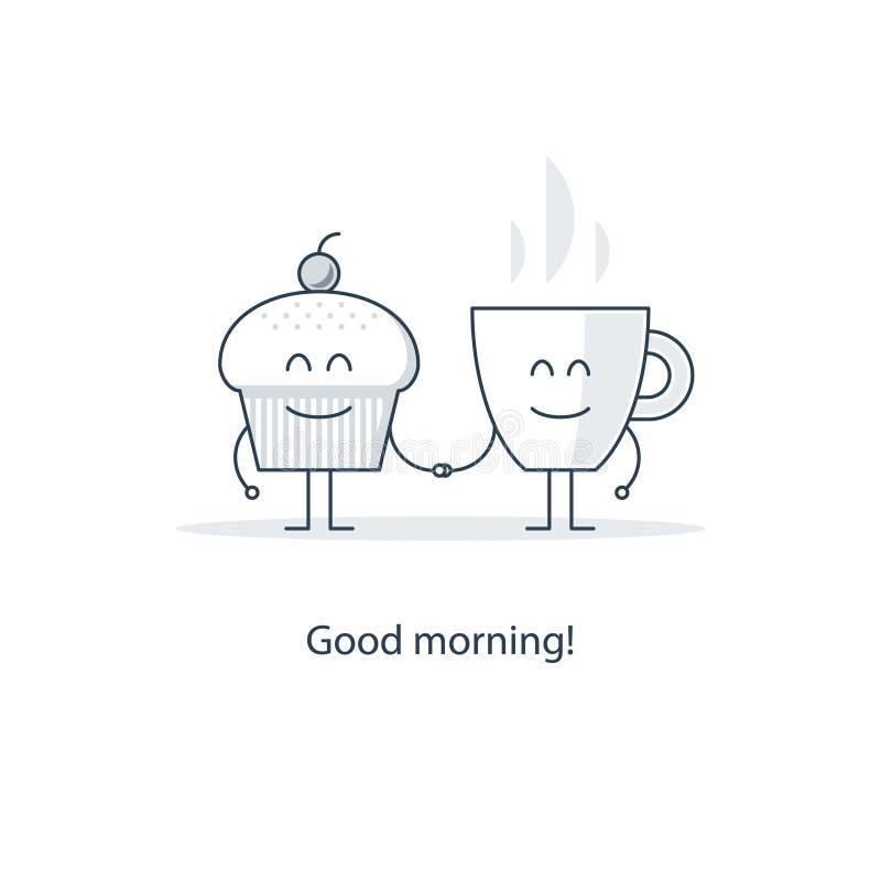 Temps de thé, tasse de matin de café illustration stock