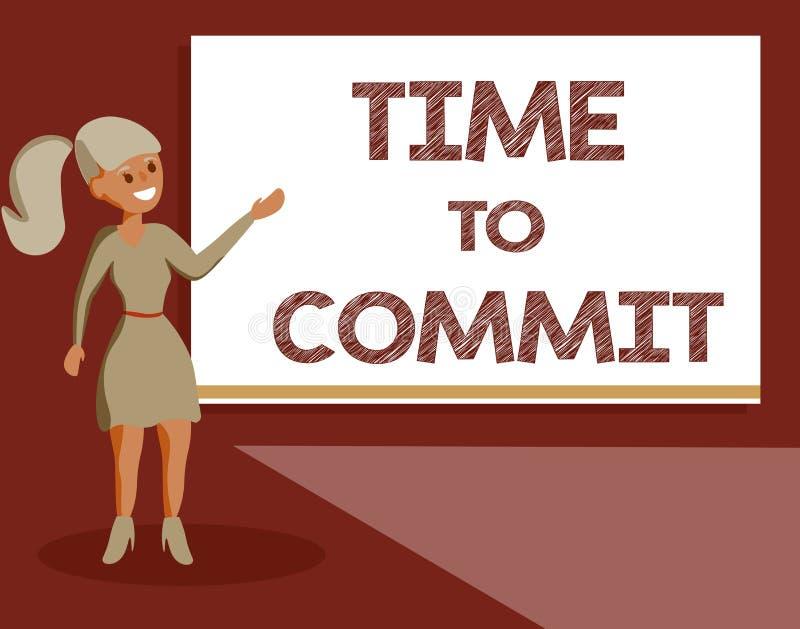Temps des textes d'écriture de commettre Engagement ou obligation de signification de concept qui limitent la liberté d'action illustration stock