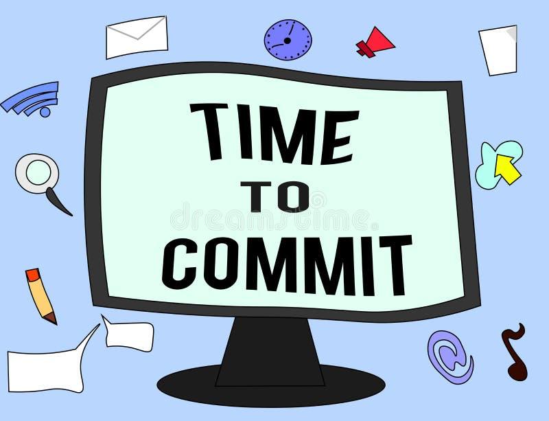 Temps des textes d'écriture de commettre Engagement ou obligation de signification de concept qui limitent la liberté d'action illustration libre de droits