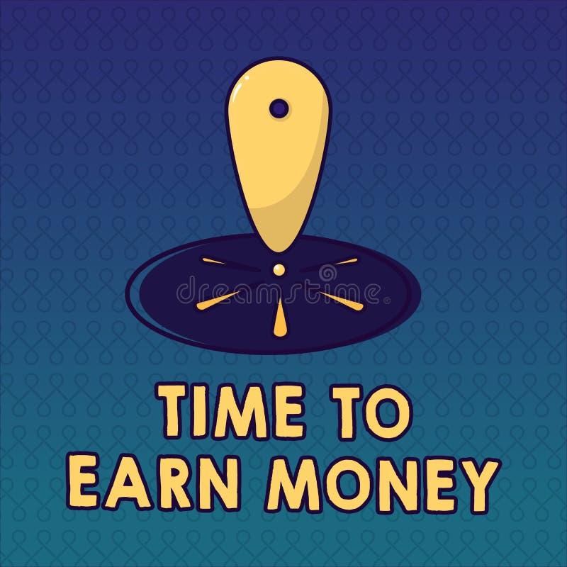 Temps des textes d'écriture de gagner l'argent La signification de concept deviennent payée pour le travail effectué investissent illustration stock