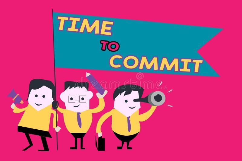 Temps des textes d'écriture de Word de commettre Concept d'affaires pour l'engagement ou l'obligation qui limitent la liberté d'a illustration libre de droits