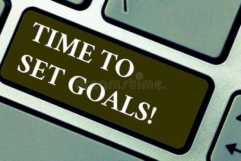 Temps des textes d'écriture de Word de fixer des buts Concept d'affaires pour l'objectif désiré voulu pour accomplir à l'avenir l image libre de droits