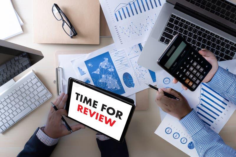 Temps en ligne d'évaluation de commentaires pour l'évaluation d'inspection d'examen photographie stock