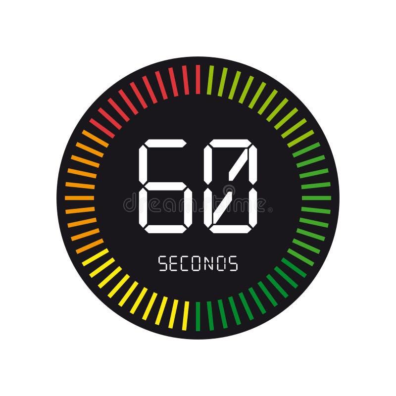 Temps et horloge, 60 secondes - illustration de vecteur - d'isolement sur W illustration stock