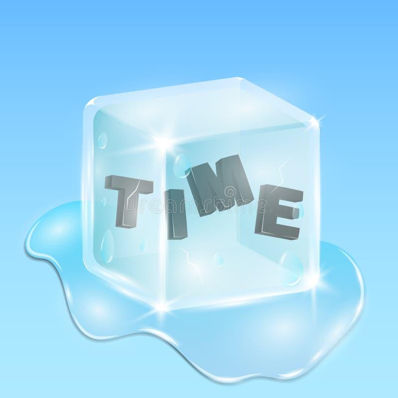 Temps gelé dans un glaçon Texte brillant noir dans le style 3d Suite de la saison d'hiver illustration stock