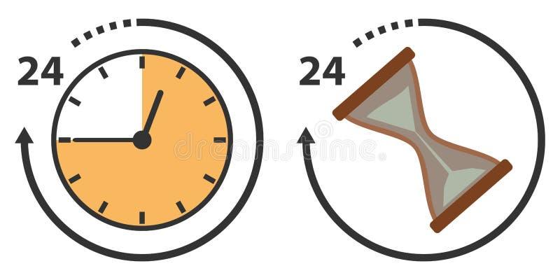 Temps, heures et sablier illustration stock