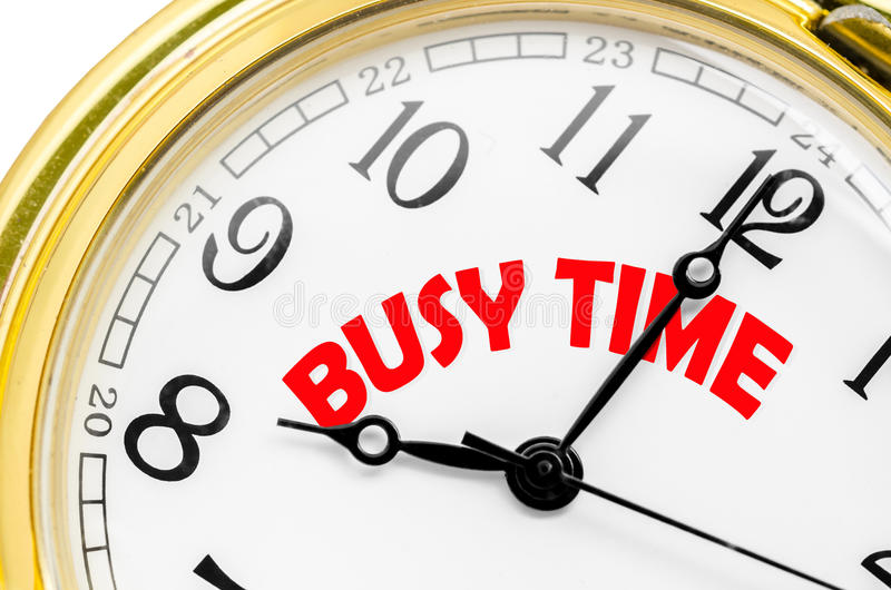 Temps occupé sur l'horloge image libre de droits