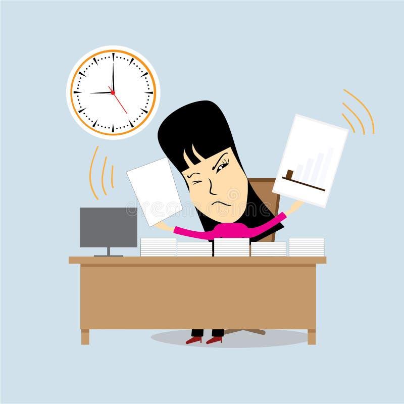 Temps ou concept fatigué ou diminué de femme d'affaires Illustration de vecteur illustration stock