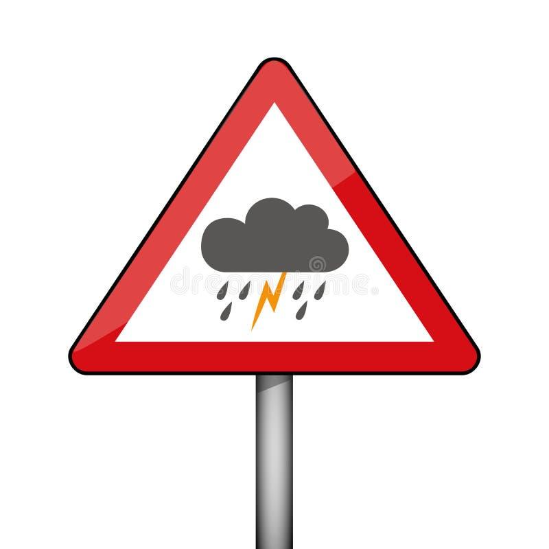 Temps triangulaire d'orage de panneau d'avertissement illustration de vecteur