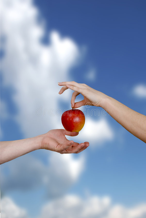 Download Temptation stock photo. Image of background, hands, apple - 7921840