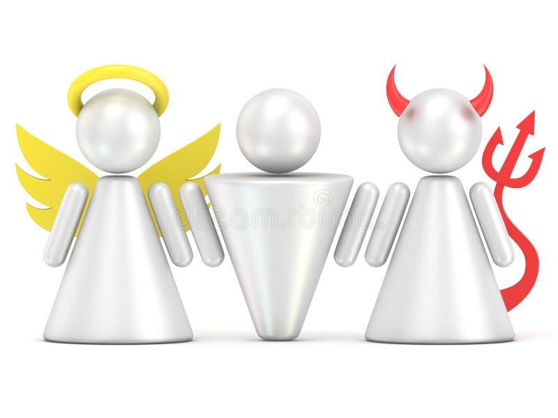 Temptation concept. Man, angel and devil figures. 3D stock illustration