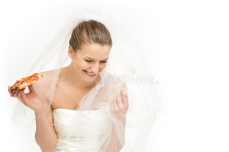 Tempting option for a bride - pizza royalty free stock image