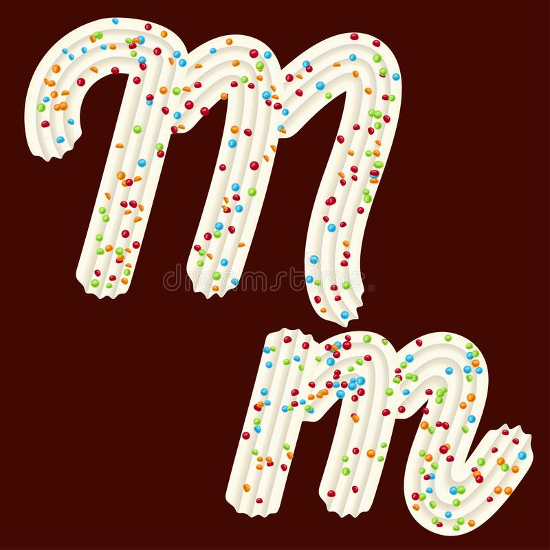 Free Tempting Typography. Font Design. 3D Letter M Of The Whipped Cream And Candy Royalty Free Stock Images - 142063389