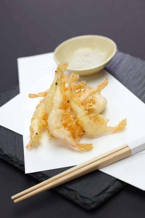 Tempura japonés del camarón, shiroebi imagen de archivo libre de regalías